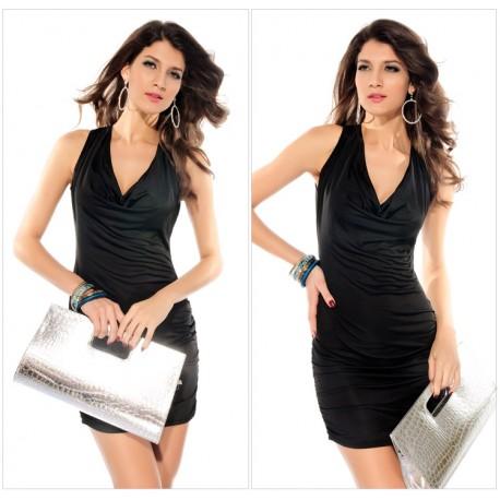 Black Sleeveless Club Wear V-neck women dress lml6096 - lol-malls - Trustful Online Shopping for Women Dresses