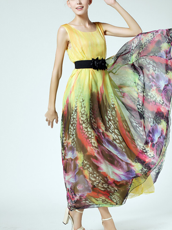 Bohemian A-line Multicolor Silk Print Maxi Dress : KissChic.com