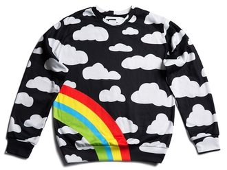 sweater fusion clothing sweatshirt print streetstyle streetwear black printed sweater rainbow menswear mens sweater crewneck women women's wear clothes black clothing