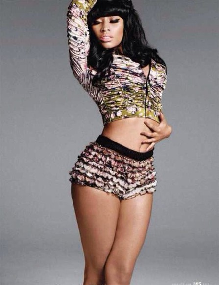 nicki minaj jacket photoshoot shorts