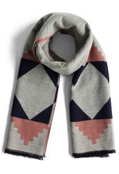 scarf,geo fun woolen scarf in grey,chicwish,grey,woolen scarf,annemerel,blogger