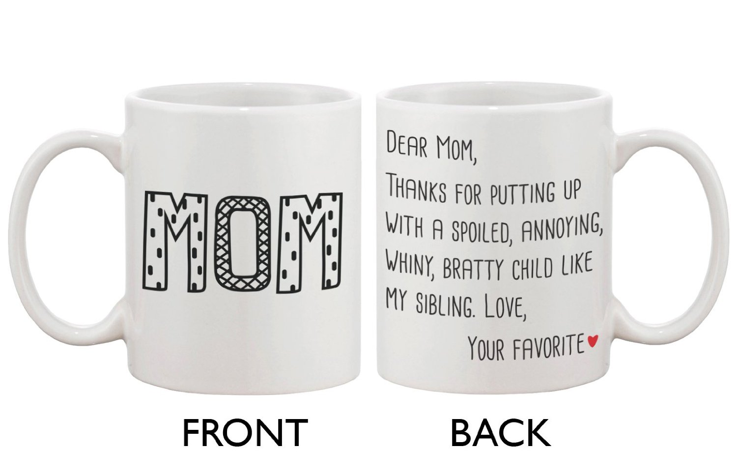 Amazon.com: Cute Ceramic Coffee Mug for Mom - Dear Mom ...