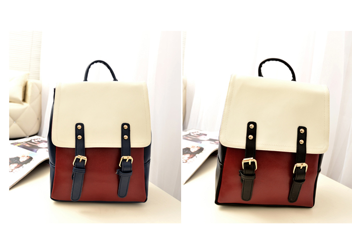 Wholesale Preppy Style Women's Satchel With Rivets Buckle and Color Block Design (BLUE), Satchels - Rosewholesale.com