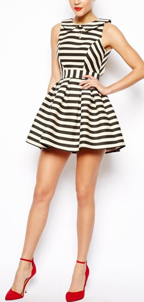 Striped Dress Black And White Dress Red High Heels Wheretoget