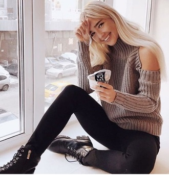 sweater girly girl girly wishlist knitwear knitted sweater knit cold shoulder sweater cut-out fall outfits fall sweater turtleneck