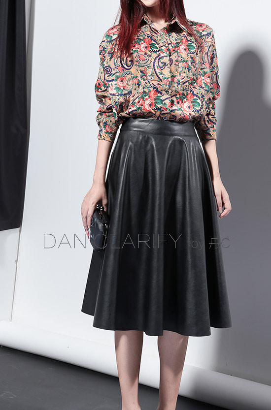 2013 autumn fashion bust skirt high waist pleated puff skirt a line PU long leather skirt Free Shipping-inSkirts from Apparel & Accessories on Aliexpress.com