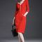 Women's fashion package hip three-quarter sleeve v-collar with vertical pocket red dress