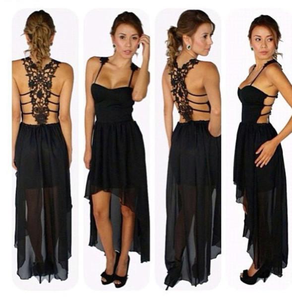 Sexy back lace long chiffon backless dress