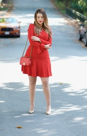 gumboot glam,blogger,dress,shoes,bag,make-up,red dress,fall outfits,red bag,chanel bag