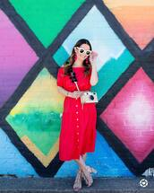 skirt,tumblr,midi skirt,button up skirt,button up,red skirt,matching set,top,red top,crop tops,off the shoulder,off the shoulder top,sandals,sandal heels,high heel sandals,white sunglasses,bag,sunglasses,shoes