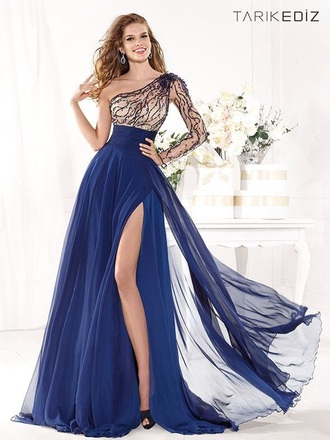 dress long dress blue dress long sleeve dress one shoulder