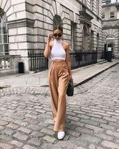 top,white,topcrop tops,sunglasses,bag,pants,brown pants