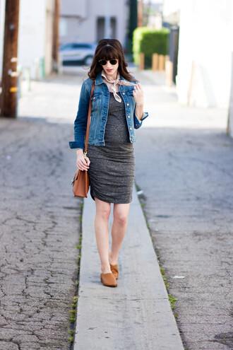 jeans and a teacup blogger dress jacket shoes bag sunglasses jewels grey dress denim jacket shoulder bag spring outfits