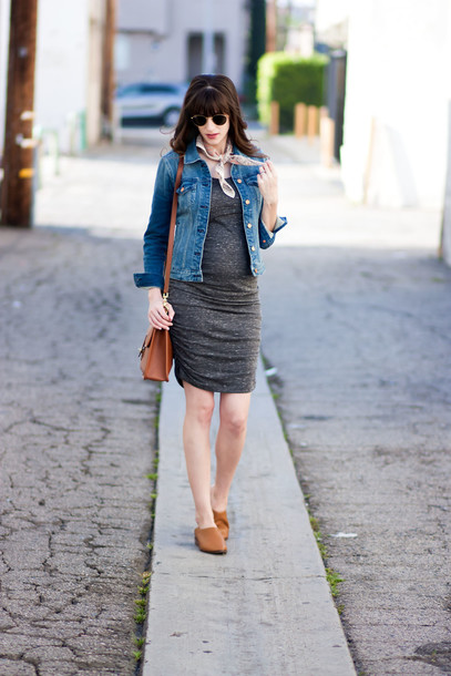jeans and a teacup blogger dress jacket shoes bag sunglasses jewels grey dress denim jacket shoulder bag spring outfits