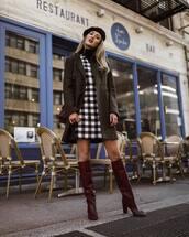 dress,mini dress,checkered dress,checkered,double breasted,knee high boots,high heels boots,coat,turtleneck,beret