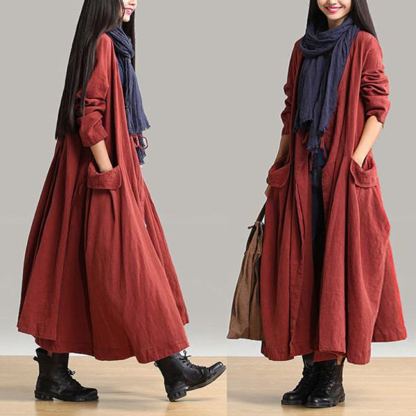 women coat linen coat