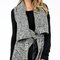 Wide collar thick knit vest with belt