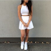 two-piece,skirt,crop tops,white,white top,top,white skirt,vans,white vans,sneakers,shoes,long hair,nike air,nike,nike sneakers,nike shoes,nike air force 1,tight shirt,shirt,tumblr outfit,tumblr clothes,petal skirt,socks,white dress,high waisted skirt,tennis skirt,pale grunge,pleated,cropped,crop