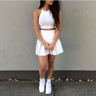 two-piece skirt crop tops white white top top white skirt vans white vans sneakers shoes long hair nike air nike nike sneakers nike shoes nike air force 1 tight shirt shirt tumblr outfit tumblr clothes petal skirt socks white dress high waisted skirt tennis skirt pale grunge pleated cropped crop