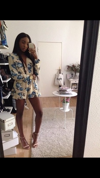 jumpsuit blue playsuit flowered shorts floral romper romper cotton nude beige sandal heels