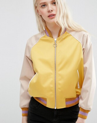 jacket yellow jacket bomber jacket athleisure baseball jacket