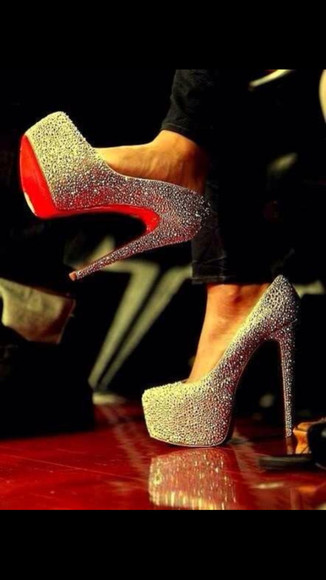 shoes christian louboutin diamonds high heels platform shoes sparkly