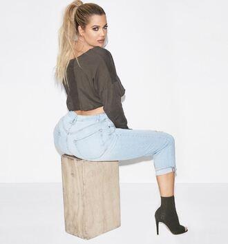 jeans booties khloe kardashian kardashians instagram sweater cropped sweater