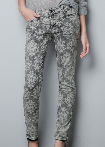 Grey low waist tribal print pockets pant