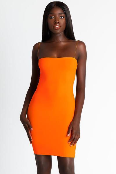 Mia Thin Strap Bodycon Dress - Orange