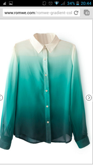 t-shirt multi-colored colours green gradient color gradient collared shirts collared shirt shirt colorful vintage ombre