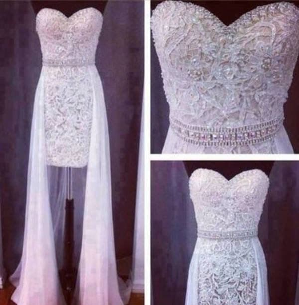 dress white dress prom prom dress beading short at front long at back jewels white beaded dress gorgeous high low prom dresses embellished white gold prom gown