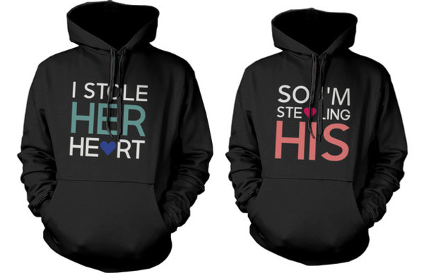 Amazon.com: Cute Matching Couple Hoodies - Stealing Hearts ...