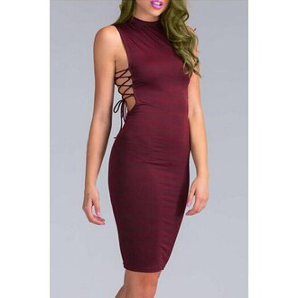 dress lace up burgundy trendy fashion stylish sleeveless solid color side lace-up bodycon dress for women midi dress party rose wholesale-jan