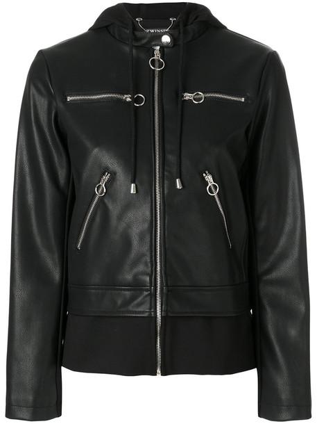 Twin-Set jacket biker jacket zip women spandex black