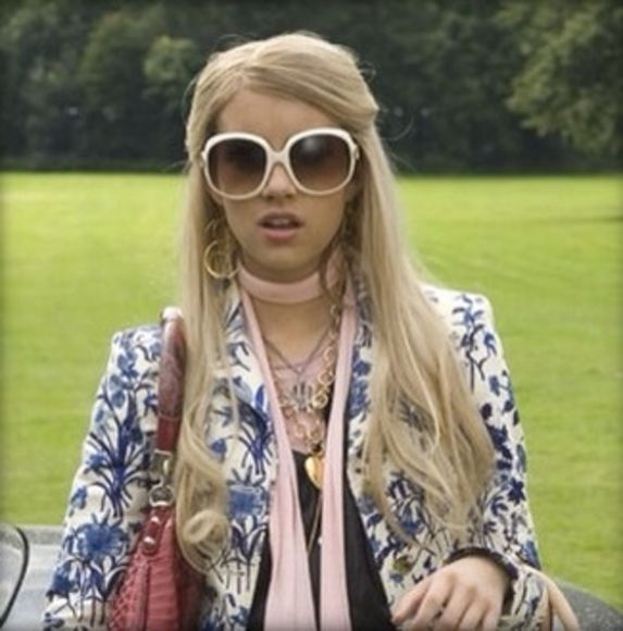 white sunglasses white style blonde hair fashion coat wild child emma roberts poppy blue print scarf accessories pink girly handbag luxery film movies celebrity celeb style gold