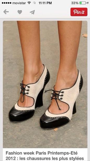 shoes black/white oxford like wedged heels oxford wedges black white cute
