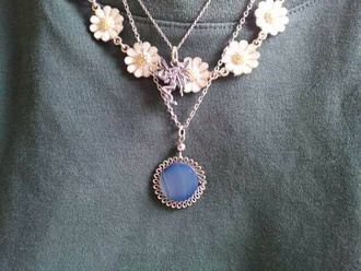 jewels necklace floral daisy blue stone