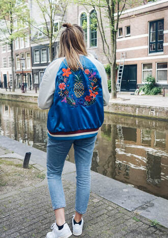 jacket tumblr bomber jacket satin bomber embroidered denim jeans blue jeans sneakers white sneakers low top sneakers