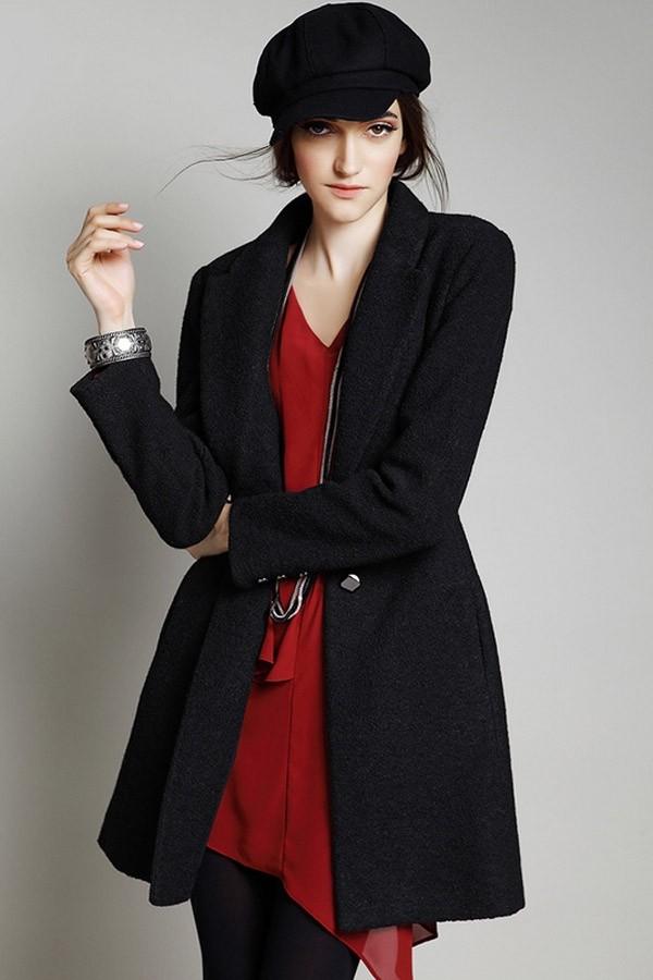 coat black woolen coat mid-length coat warm coat