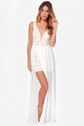 Lovely Ivory Dress - Lace Dress - Maxi Dress - $77.00
