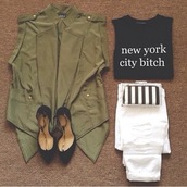 shirt,black,top,white,jeans,clutch,stripes,green,jacket,camouflage,heels,style,summer,party,city,crop tops,new york city,army green jacket,army green,high heels,outfit,clothes