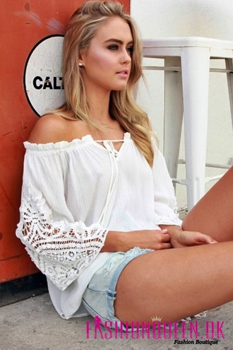 top blouse boho boho top white boho top off the shoulder white top