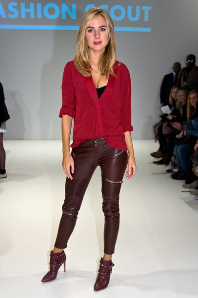 pants leather blouse ankle boots kimberley garner fashion week 2015