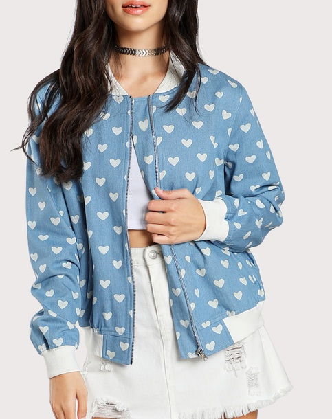 jacket girly blue heart zip zip up jacket