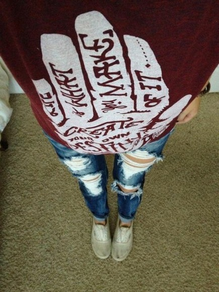 burgundy sweater sweater jeans pretty hipster red ripped jeans jacket