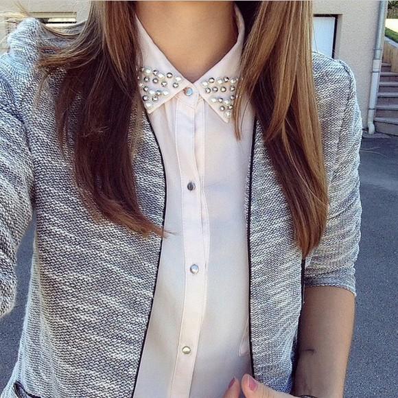 girly pearl cute coat grey hoodie grey shirt pink skirt pink light pink cute top prom dress high low