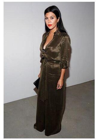 jumpsuit olive green kourtney kardashian fashion week