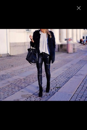 pants zip leather pants heels shoes high heels black heels leather fur bag purse furry fur jacket t-shirt white white t-shirt zip leather pants skinny pants fashion style zipped pants