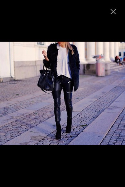 pants zip leather pants heels shoes high heels black heels leather fur bag purse fluffy fur jacket t-shirt white white t-shirt zip leather pants skinny pants fashion style zipped pants