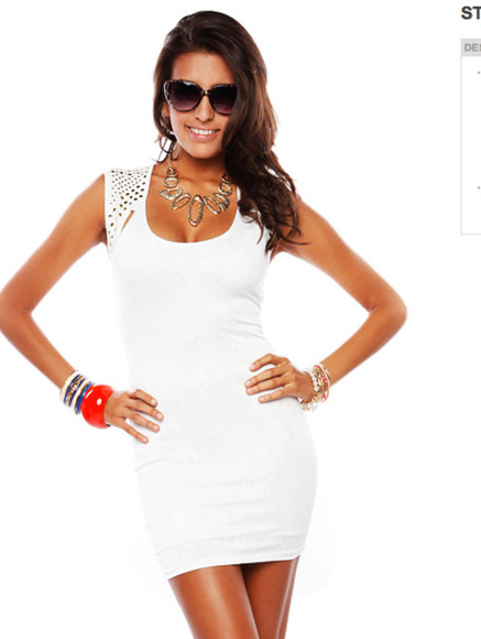 dress white white dress studs studded dress short homecoming cocktail tight dress